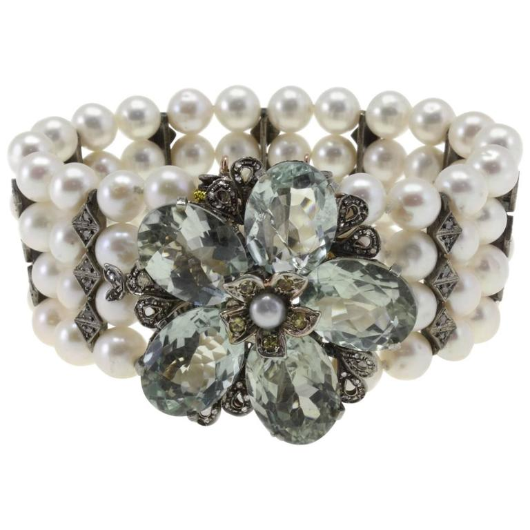 Diamonds, Green Amethyst Pearls Gold and Silver Bracelet