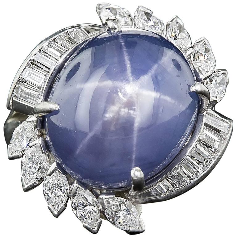 25.00 Carat Ceylon No Heat Star Sapphire Diamond Ring