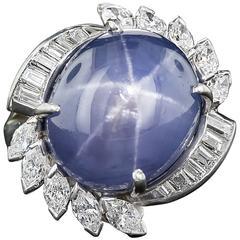 25.00 Carat Ceylon No Heat Star Sapphire  Diamond Ring