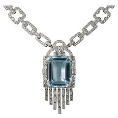 Lacloche Frères Art Deco 18.51 Carat Aquamarine & Diamond Link Necklace