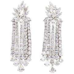 Important Diamond Platinum Dangle Earrings