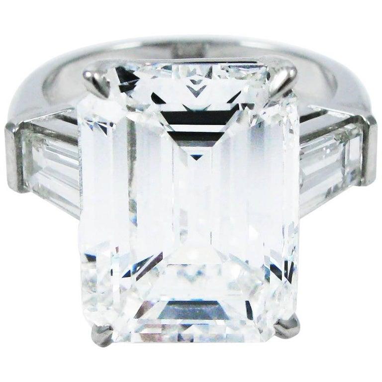 10.01 Carat Emerald Cut Diamond Platinum Classic Ring GIA