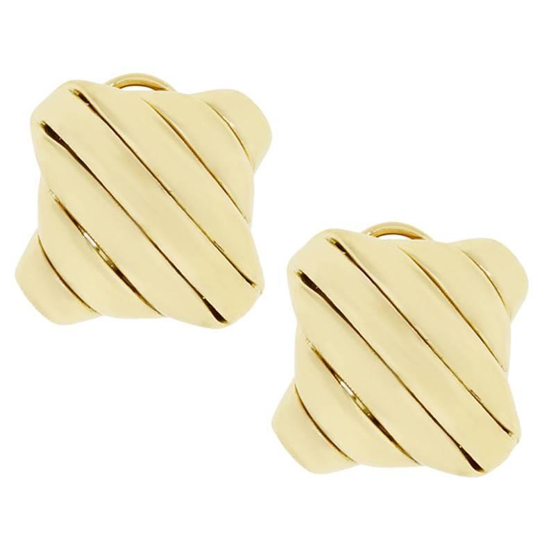 Seidengang Gold  Ribbed Earrings