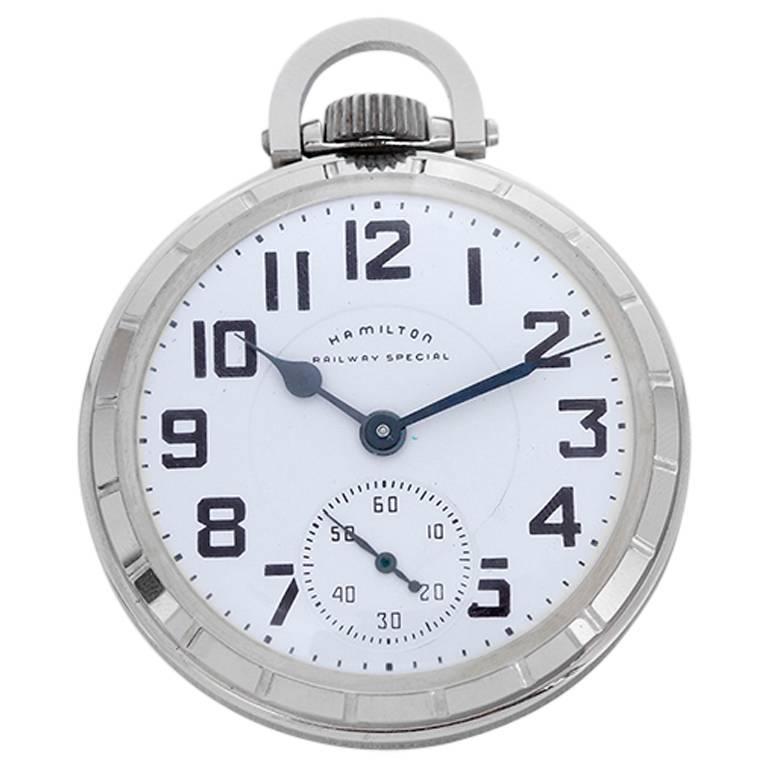 2d05ee39b Hamilton Stainless Steel Railway Special Pocket Watch 922B For Sale ...