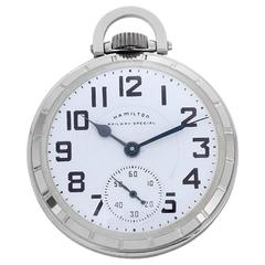 Hamilton Stainless Steel Railway Special Pocket Watch 922B