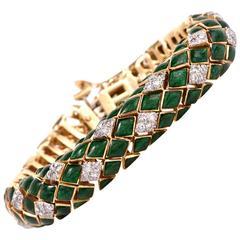 1960's David Webb  Green Enamel Diamond Gold Snake Bracelet