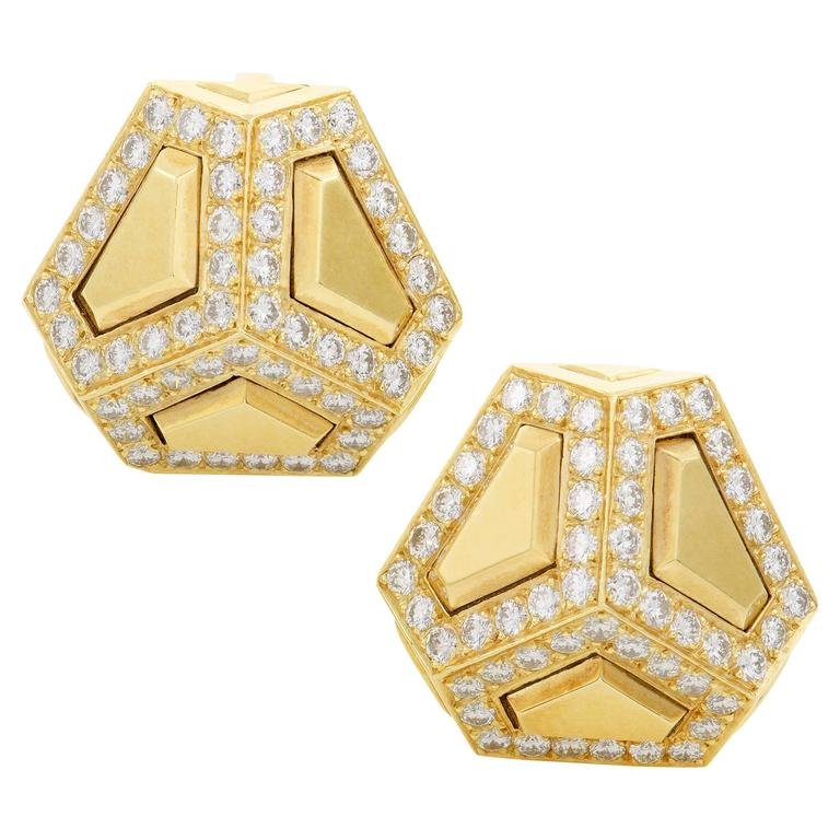 Gübelin Diamond Yellow Gold Clip-On Earrings