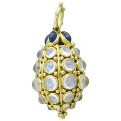 Temple St. Clair Gold Sapphire Blue Moonstone Bee Hive Pendant
