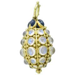 Temple St. Clair Gold Sapphire Blue Moonstone Bee Hive Pendant