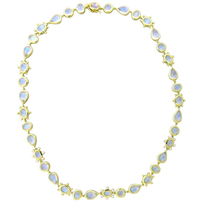 Temple St. Clair Gold Blue Moonstone Diamond Halo Necklace