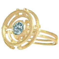 Shimell & Madden Aquamarine Five Circle Gold Ring