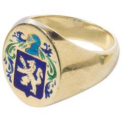 Heraldic Enameled Lion Mantle Ring