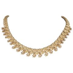 Textured and Diamond set fringed necklace