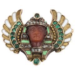 Winged enamel Egyptian revival brooch