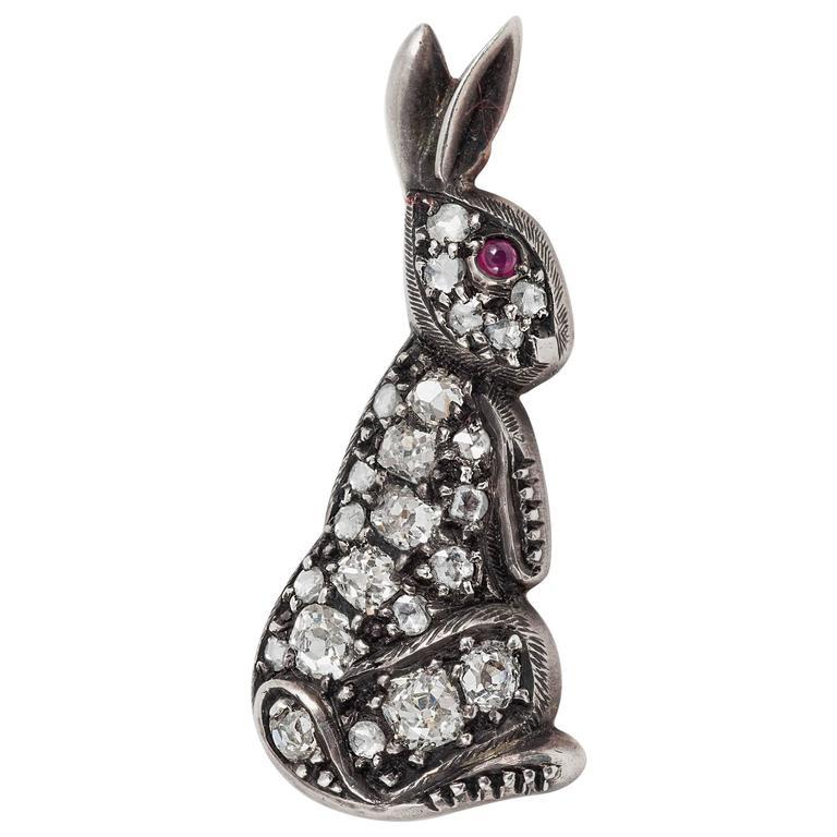 Victorian Diamond rabbit brooch