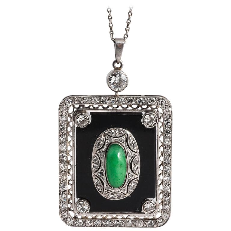 Art Deco rectangular Jade Diamond Onyx Pendant 1