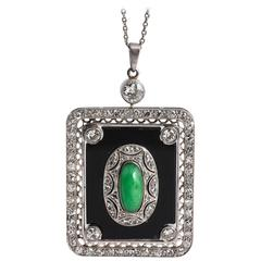 Art Deco Rectangular Jade Diamond Onyx Pendant