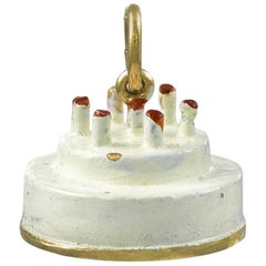 Gold and Enamel Birthday Cake Charm