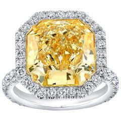 GIA Certified 10.43 Carat Radiant Cut Fancy Light Yellow Diamond Ring
