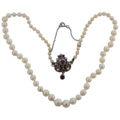 Antique Silver Garnet and Pearl chocker necklace