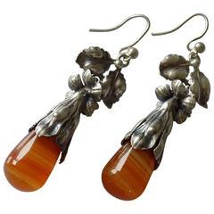 Antique Art Nouveau Silver and Agate Pendant Earrings