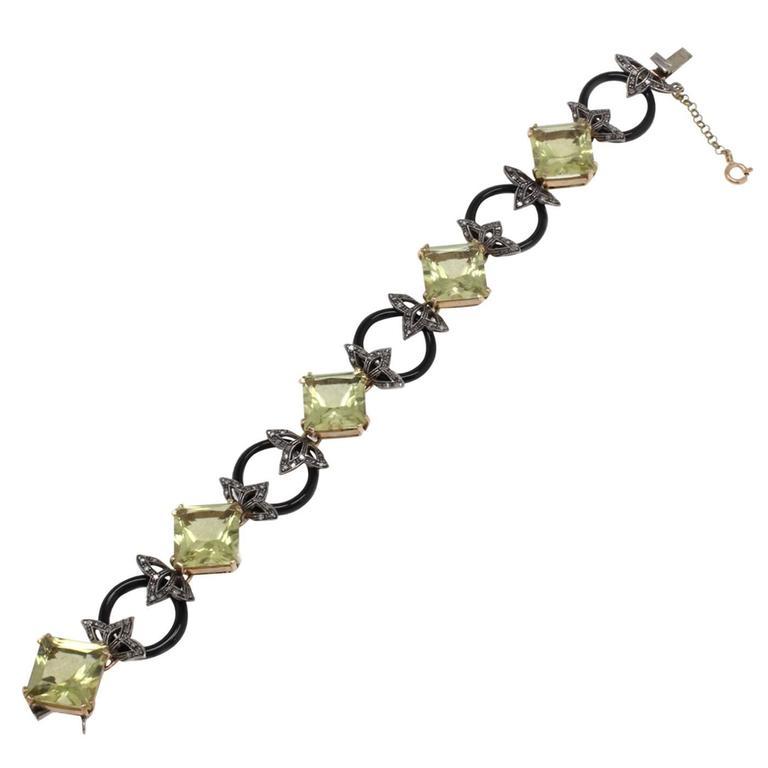 Diamonds Citrine Onyx Gold and Silver Link Bracelet