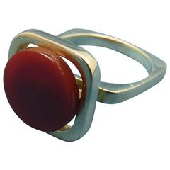 1980s Pierre Cardin Yellow Gold Carnelian Ring.