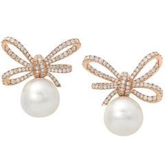 VANLELES Diamond Gold Pearl Lyla's Bow Earrings