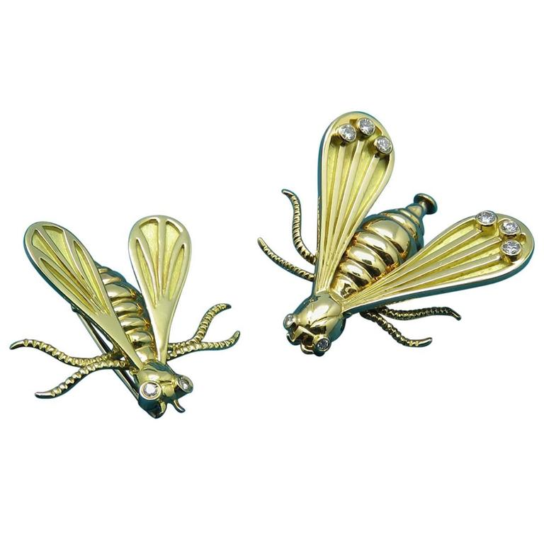 1970's Chaumet Paris Napoleonic Diamond Yellow Gold  Bee Brooches