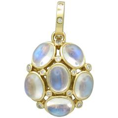 Temple St. Clair Gold Blue Moonstone Diamond Nirvana Pendant