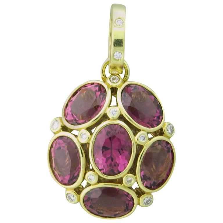 Temple St. Clair Pink Tourmaline Diamond Gold Nirvana Pendant