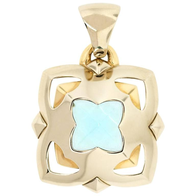 Bvlgari Two Tone Gold Blue Topaz Flower Pendant