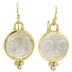 Temple St. Clair Gold Diamond Crystal Moonface Drop Earrings