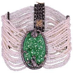 Wide Jade Pearl Diamond Bracelet