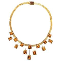 1970s  Burle Marx  Modernist Citrine Gold Necklace