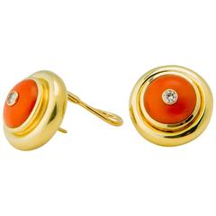 Tiffany & Co. Paloma Picasso Coral Diamond Gold Earrings