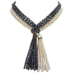 Marina J. Woven Art Deco Black and White Pearl, Long Lariat Necklace