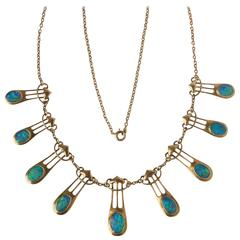 Murrle Bennett & Co Gold Opal Art Nouveau Necklace