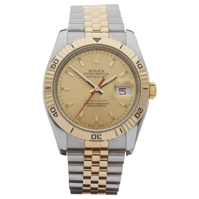Rolex Yellow Gold Stainless Steel Datejust Turn-o-graph Automatic Wristwatch 1