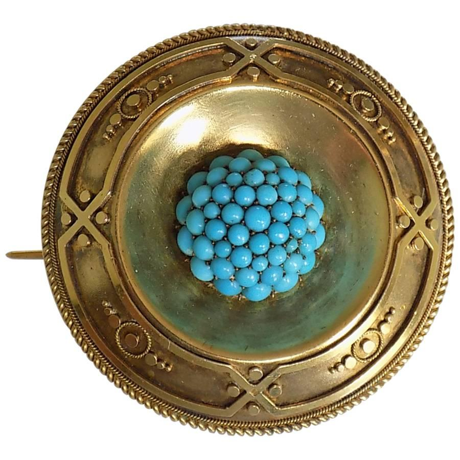 18K Victorian Yellow Gold Turquoise Target Brooch