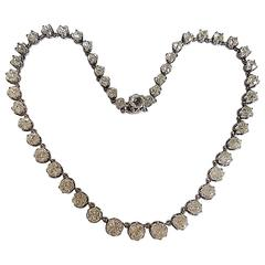 Antique Victorian French Diamond Paste Silver Riviere Necklace