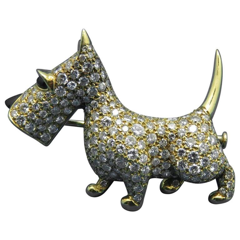 1980s OJ Perrin Onyx Diamond Gold Yorkie Brooch Pin