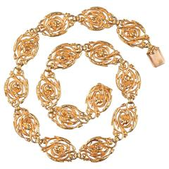 French Art Nouveau Wiese  Gold Necklace