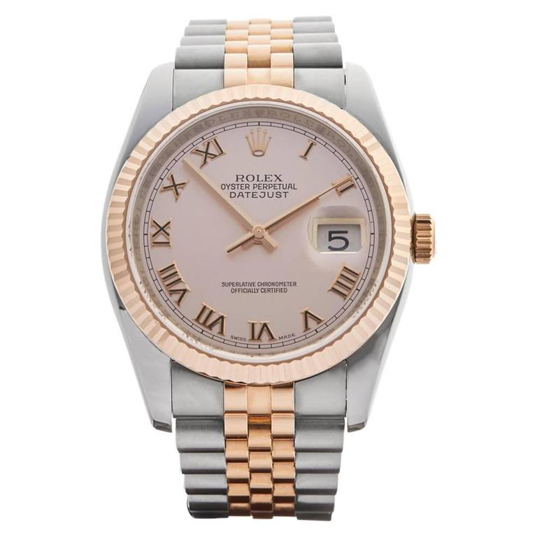 Rolex Rose Gold Stainless Steel Datejust Automatic Wristwatch 116231 2006 For Sale