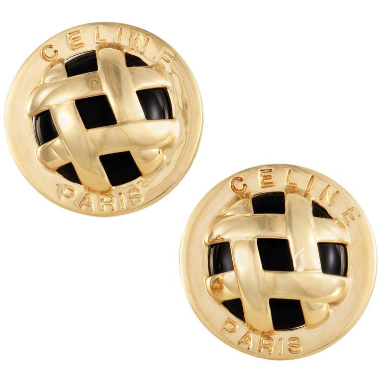 Celine Womens Onyx Yellow Gold Lattice Clip-On Earrings