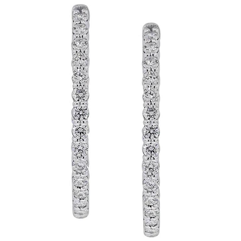 2.47 Carat Diamond White Gold Inside Out Hoop Earrings