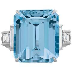Tiffany & Co. 15 Carat Aquamarine Diamond Ring