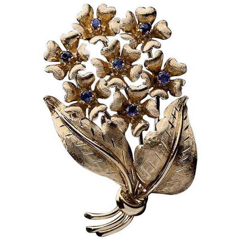 Tiffany & Co. Yellow Gold Sapphire Bouquet of Flowers Brooch Pin