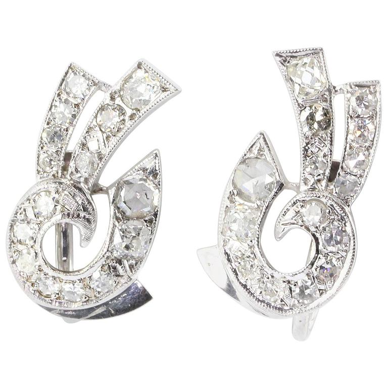 Art Deco White Gold Rose Cut Diamond Earrings