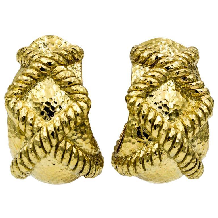 David Webb Hammered Rope 18 Karat Yellow Gold Earrings